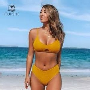 CUPSHE SEXY MUSTARD YELLOW CUT OUT FRONT BIKINI M